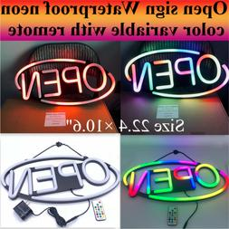 OPEN Sign LED Neon full color RGB outdoor with remote Siz 22