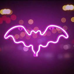Funpeny LED Neon Decorative Light, Neon Sign Pink Bat Shaped