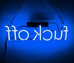 "Fvck Off Blue 14""x4"" Neon Sign Acrylic Light Bar Glass Wall"