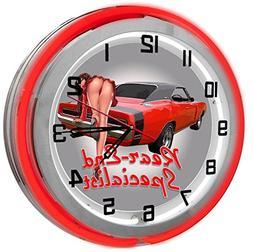 """Garage Pin Up Girl 18"""" Red Neon Garage Clock from Redeye Las"""
