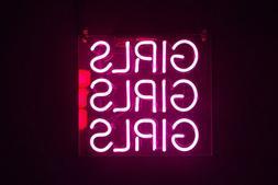 """Girls Girls Girls Pink Neon Sign Bar Decor Gift 14""""x10"""" Ligh"""