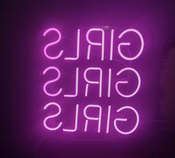 "Girls Girls Girls Purple Neon Sign Bar Decor Gift 14""x10"" Li"