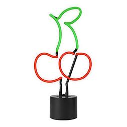 Amped & Co - Real Neon Cherries Emoji Table Light, Painted R