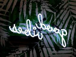 "Good Vibes White Acrylic Neon Sign 14"" Light Lamp Bedroom Gi"