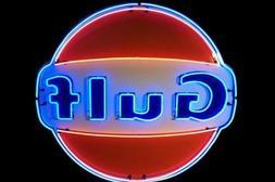 """Gulf Dealer Gas & Oil Neon Light Sign Lamp 24""""x24"""" Wall Deco"""