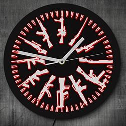 The Geeky Days Gun And Bullets LED Neon Sign Wall Clock Vint