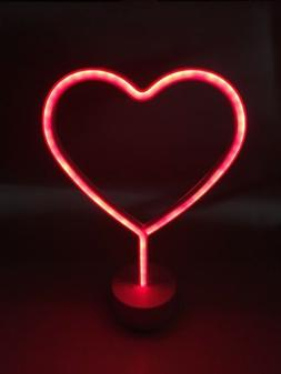 Heart Shape LED Neon Sign Light, Indoor Decorative Art Night