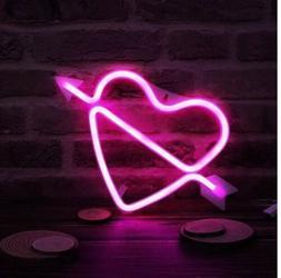 Heart w/ Arrow LED Sign USB or Battery Light Shop Wedding Ro