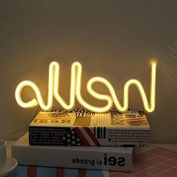 hello shape neon word sign