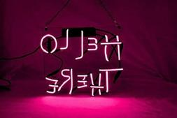 """Hello There Pink 14""""x10"""" Neon Sign Acrylic Light Bar Glass W"""