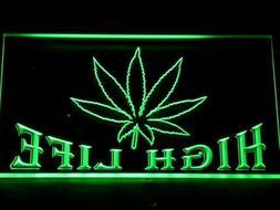 Cannabis Marijuana High Life Led Neon Light Up Sign Bar Home