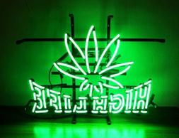 "High Life Leaf Weeds Neon Lamp Sign 17""x14"" Bar Light Glass"