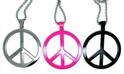 Hippie Necklace Fancy Dress Neon ABBA Party Peace Sign Jewel