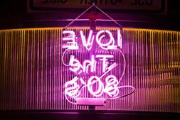 "I Love The 80'S Pink Neon Lamp Sign 14""x10"" Acrylic Bright L"