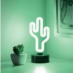 "Merkury Innovations 8"" inch LED Neon Green Cactus Sign Night"