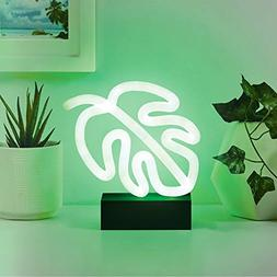 "Merkury Innovations 7"" inch LED Neon Green Monstera Leaf Nig"