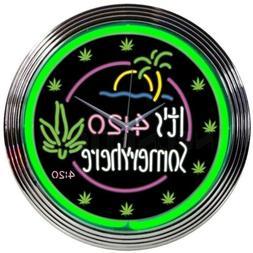 It's 4:20 Somewhere High Life Marijuana Leaf Weed Neon Light