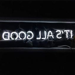 "LiQi ITS All Good Neon Sign (18.5"" x 4"" Large)Real Glass"