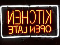 """Kitchen Open Late 20""""x14"""" Neon Sign Lamp Bar With Dimmer"""