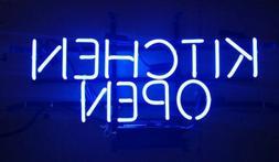 "Kitchen Open Neon Light Sign 20""x16"" Artwork Decor Glass Lam"