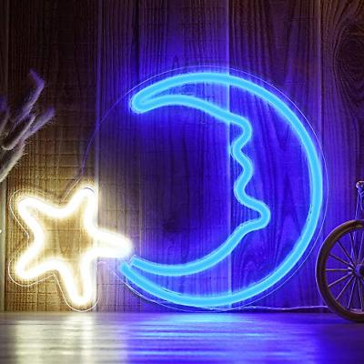 "15"" LED Moon Star Shaped Neon Sign Light Wall Decor Art Sign"