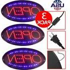 3 X LED Open Sign Store Shop Business Neon Display Lights Br