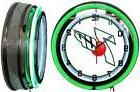 """7 UP white sign 19"""" Double Neon Green Neon Clock  Mancave Ba"""