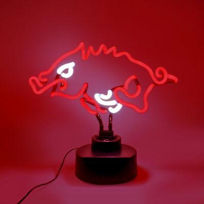 ARKANSAS RAZORBACKS NEON SIGN LIGHT TABLE TOP LAMP HOGS UNIV