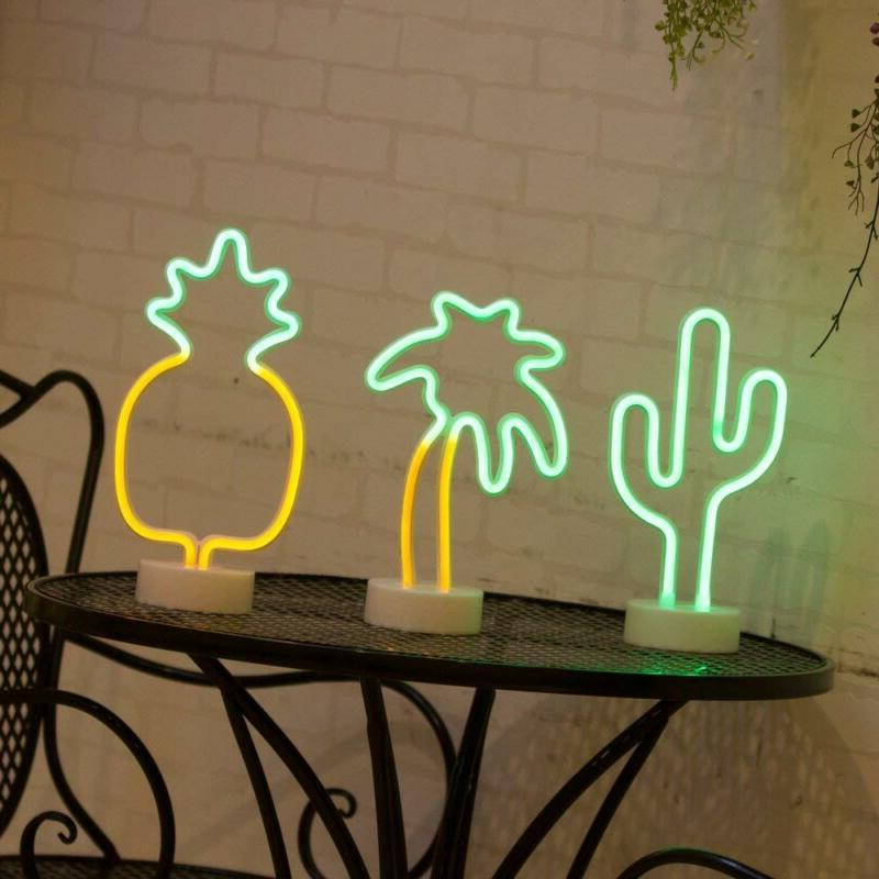 Cactus Neon Signs Light with Base for