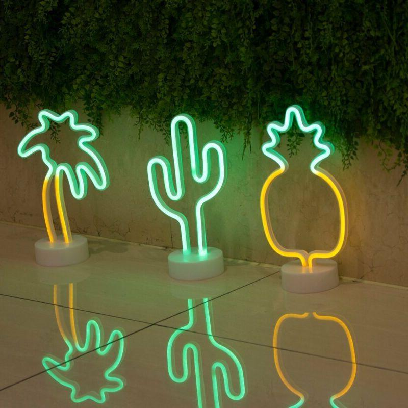 Cactus Neon Light with Holder Base for Party