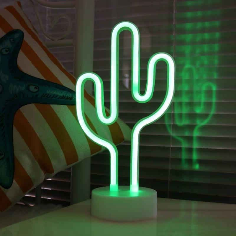 Cactus Neon Signs LED Light with Holder Base for Party Suppl