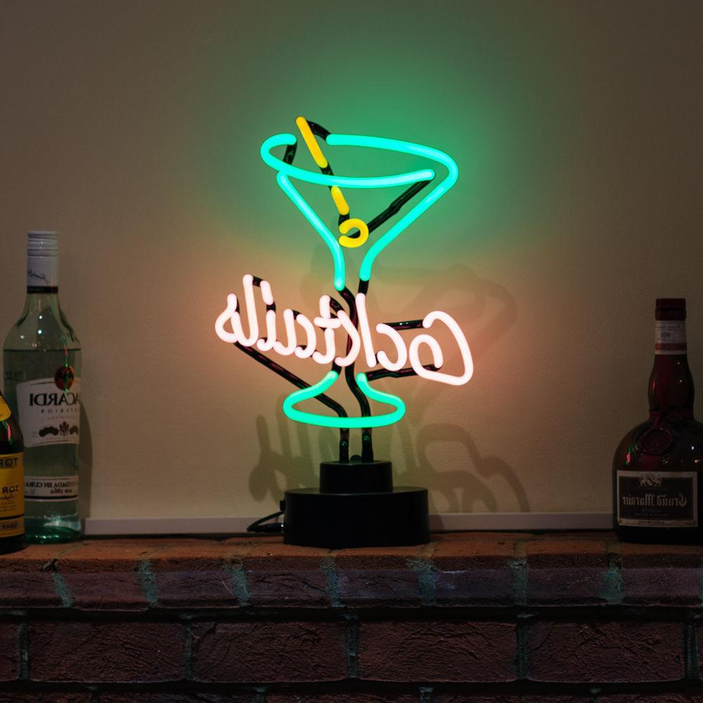 Cocktail Neon Sign Light Sculpture Table Lamp