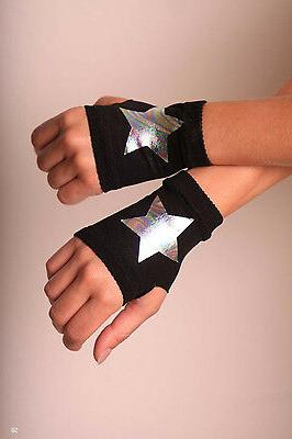 Cosplay Fingerless Gloves Sign Neon Pink Black Stars Punk