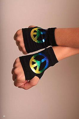 Cosplay Fingerless Gloves Peace Sign Neon Yellow Pink Black Stars Punk