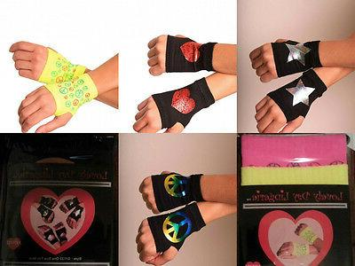 Cosplay Fingerless Gloves Peace Sign Neon Yellow Orange Pink
