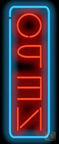 Deluxe Open Vertical Neon Sign - Red & Blue