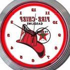 Fire Chief Gasoline Texaco Red White 15 Inch Neon Clock Offi