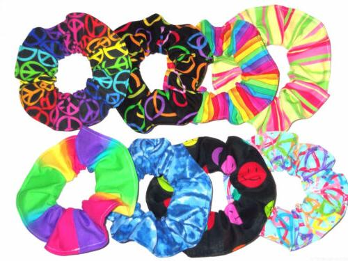 Hair Scrunchie Rainbow Neon Peace Signs Ponytail Holder Tie