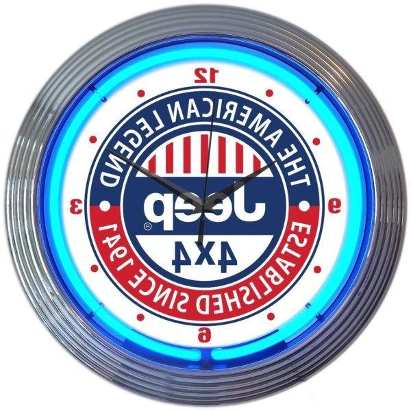 Jeep 4 x 4 The American Legend Neon Clock 15 Inch Office Gam
