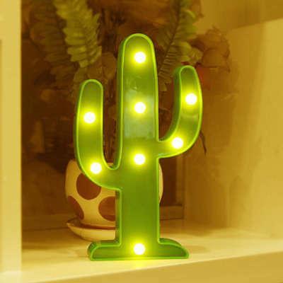 LED Cactus Lamp Neon Sign Desk Wall Lamp Mini Night Light No