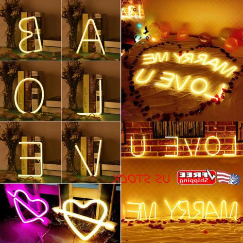 LED Neon Sign 26Letters Light Wedding Xmas Birthday Party De