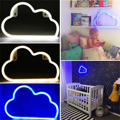 LED Neon Sign Night Light Cloud Wall Background Home Kids Be
