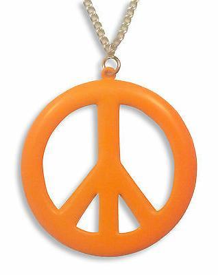 Large Peace Sign Neon Orange Enamel Finish Pewter Pendant Ne