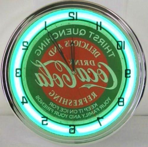 Neon Clocks Coca Cola Vintage Retro Wall Clock Green Ring Di