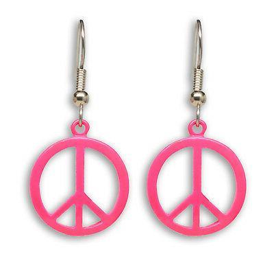 Neon Hot Pink Peace Sign Dangle Earrings #500-P