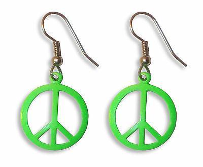 Neon Lime Green Peace Sign Dangle Earrings #500-G