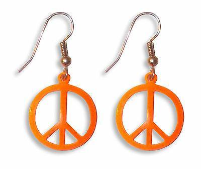 Neon Orange Peace Sign Dangle Earrings #500-O