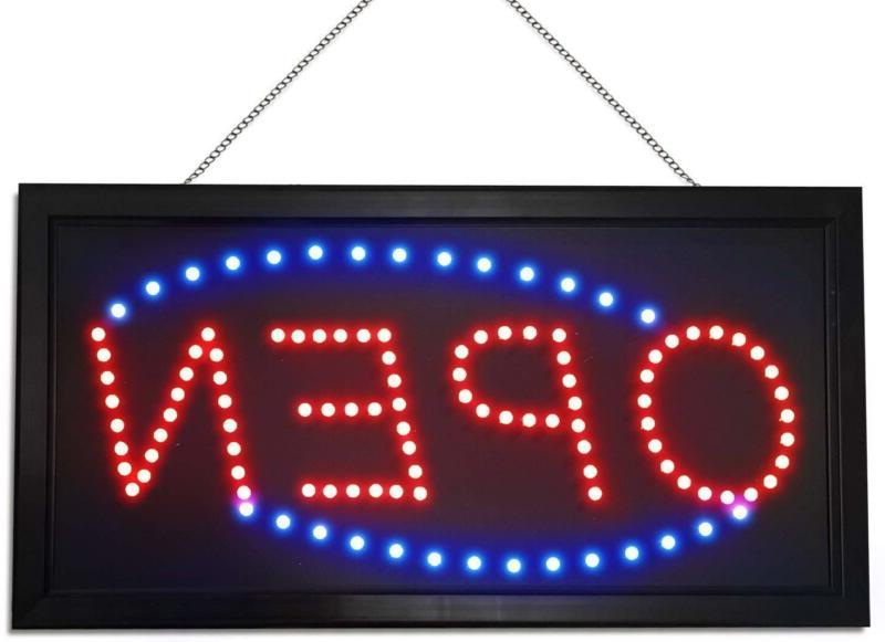 Neon Sign Red & Blue LED Lights Open Extended Power Cord for