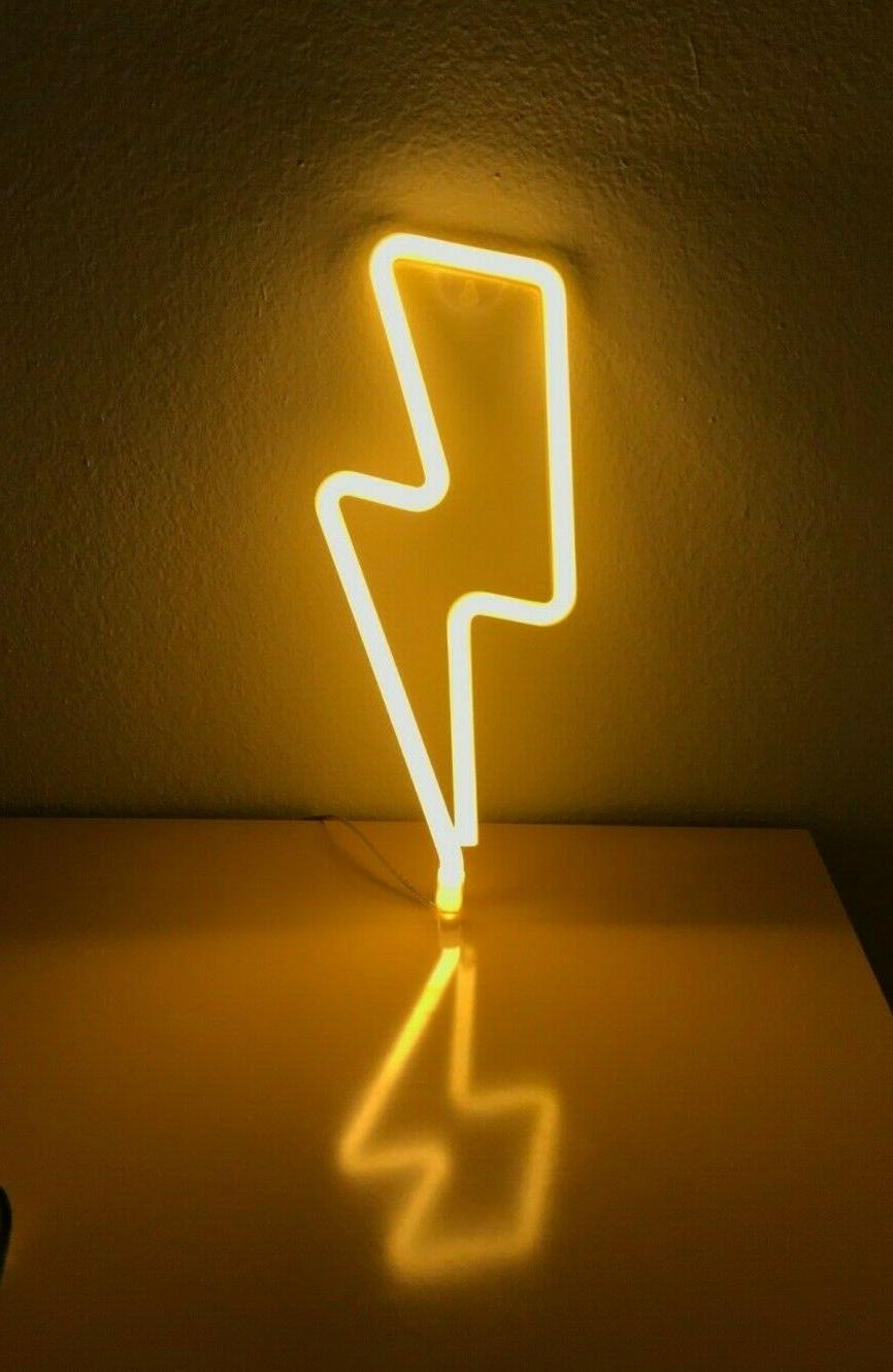 Neon Signs Lightning Bolt Battery Operated and USB Powered W