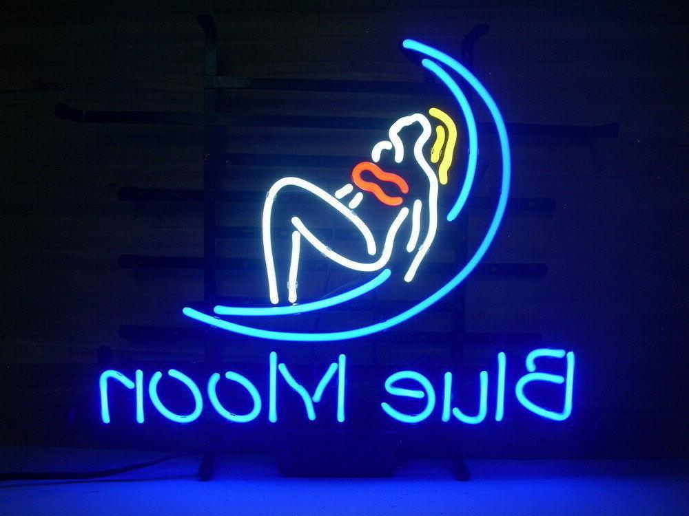 "New Blue Moon Woman Lady Pub Bar Neon Light Sign 19""x15"""